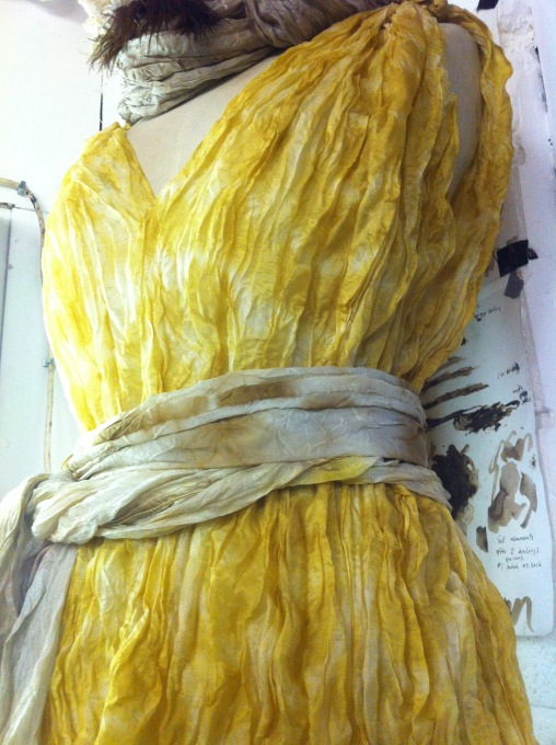 daffodil dyed pleated silk tunic